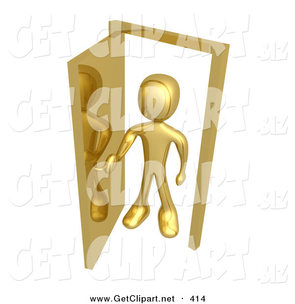 3d Clip Art of a Golden Figure Standing in an Open Doorway, Uncertain of Whether or Not to Enter, Symbolizing Opportunity