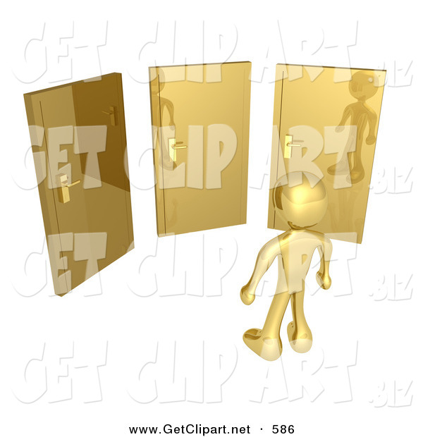 3d Clip Art of a Golden Figure Standing in Front of Three Different Golden Doors, Symbolizing Someone with Only Amazing Opprotunities Ahead