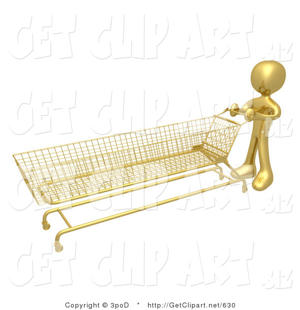 3d Clip Art of a Golden Person Pushing a Super Long Shopping Cart in a Store While Planning to Purchase a Lot