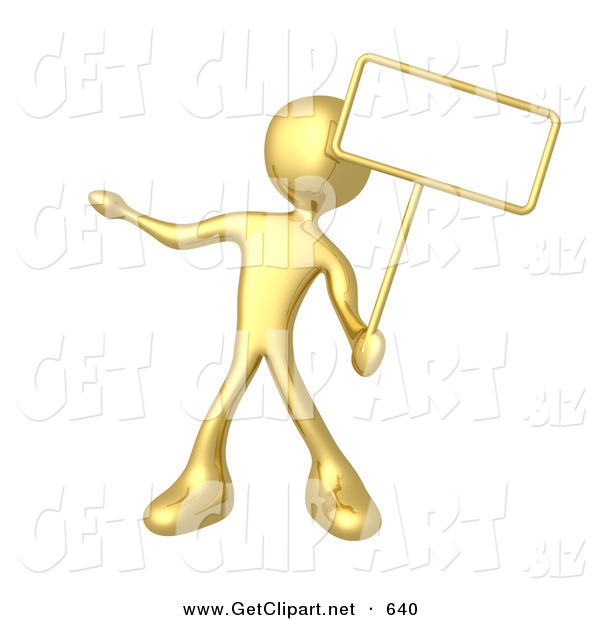 3d Clip Art of a Golden Person Standing and Holding up a Blank Sign for an Advertisement