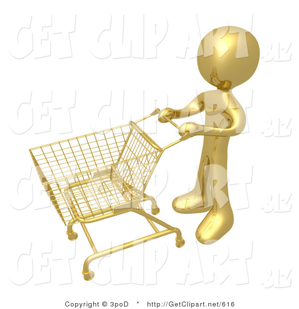 3d Clip Art of a Golden Person Standing with an Empty Shopping Cart in a Store