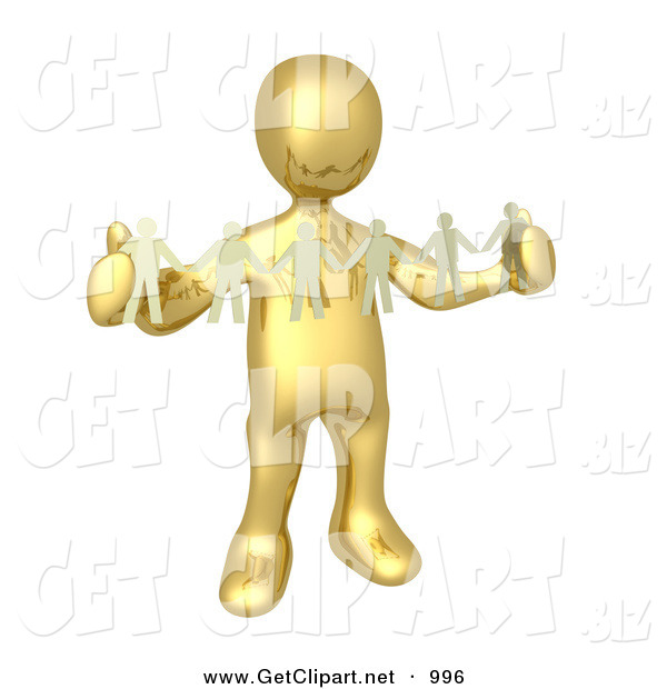 3d Clip Art of a Golden Person, Such As a Boss or Manager, Holding a Strand of Paper People, Symbolizing Control or Teamwork