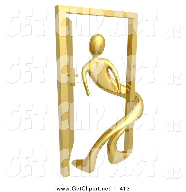 3d Clip Art of a Golden Person Twisted Around the Frame of an Open Door, Symbolizing Lonliness, Split Personalities, Uncertainty, and an Egotistical Person