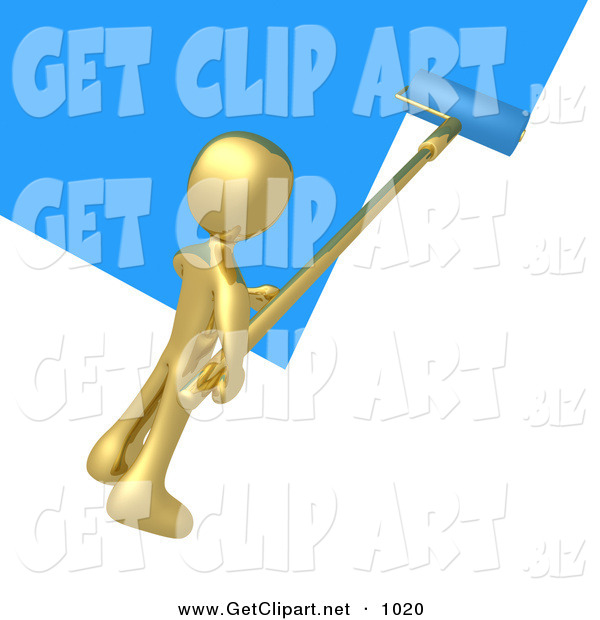 3d Clip Art of a Golden Person Using a Roller to Apply Blue Paint to a White Wall