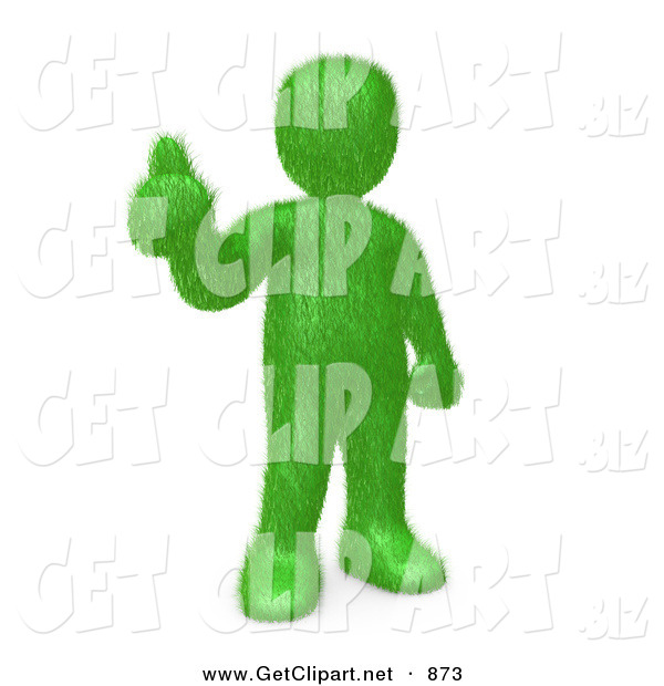 3d Clip Art of a Grassy Green Person Giving the Thumbs up After Making the Decision to Go Green and Organic to Be Earth Friendly