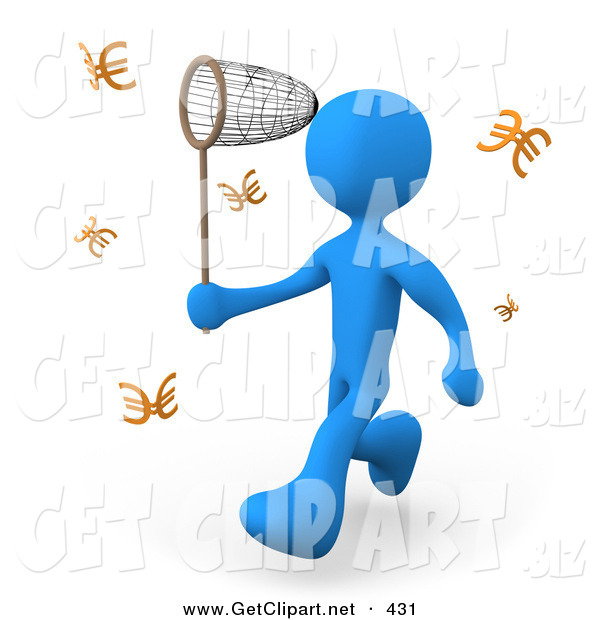 3d Clip Art of a Greedy Blue Person Chasing Euros That Resemble Butterflies with a Net