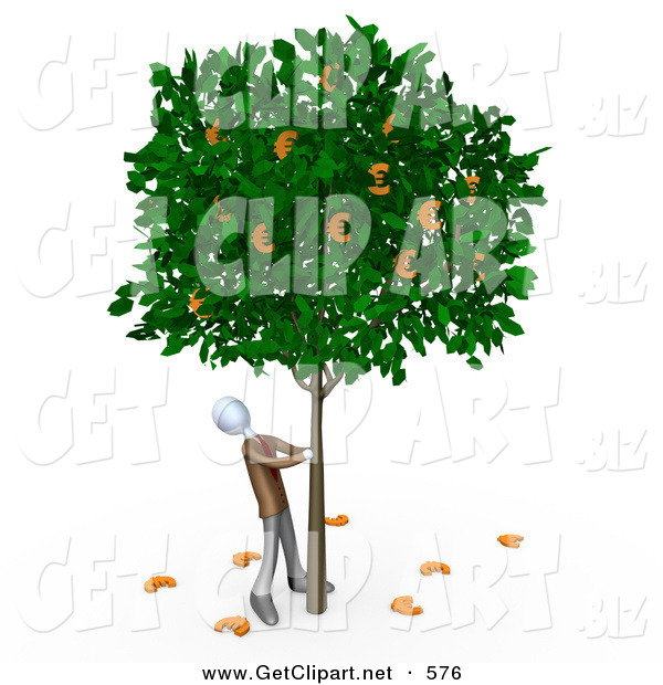3d Clip Art of a Greedy Businessman Shaking Money off of a Leafy Tree That Grows Euros