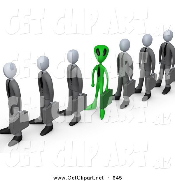 3d Clip Art of a Green Alien Man Carrying a Briefcase and Standing in a Line of Human Businessmen, Metaphor for Feeling Alienated or Different