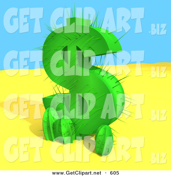 3d Clip Art of a Green Cactus in the Shape of a Dollar Symbol, Growing in the Desert