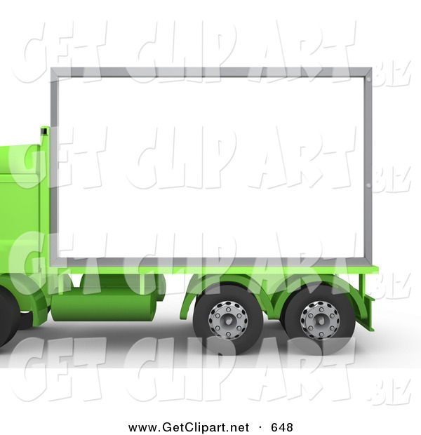 3d Clip Art of a Green Diesel Big Rig Semi Truck with a Blank White Billboard, Ready for an Advertisement