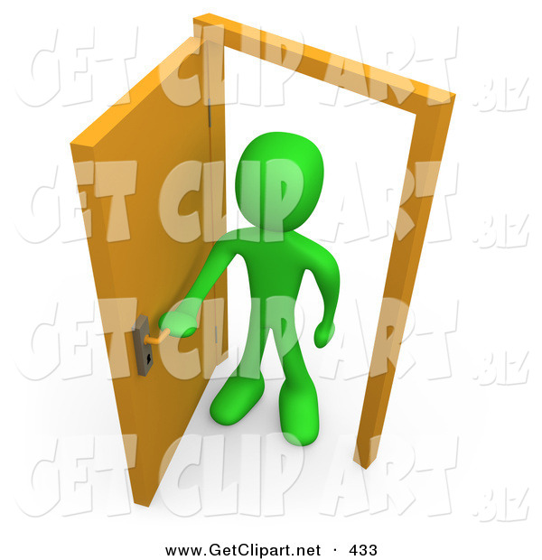 3d Clip Art of a Green Figure Man Standing in an Open Doorway, Uncertain of Whether or Not to Enter, Symbolizing Opportunity
