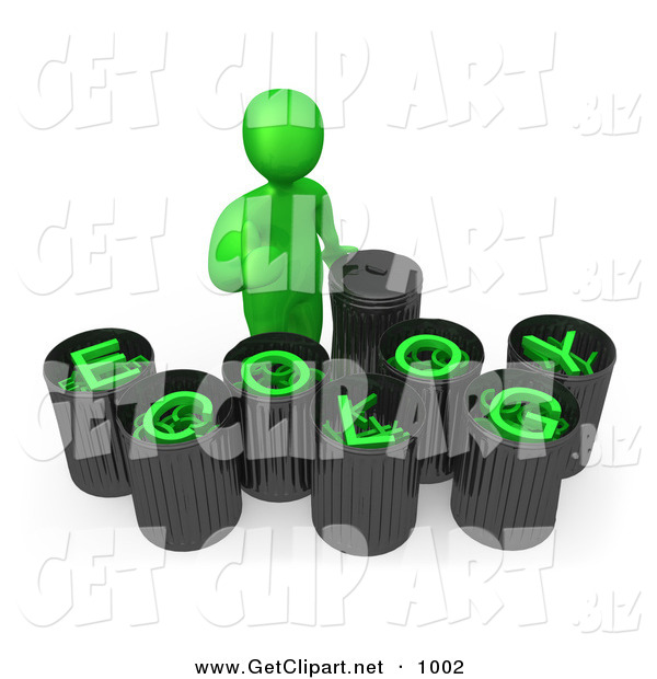 3d Clip Art of a Green Man Giving the Thumbs up While Standing by Trash Cans with Green Text Reading Ecology