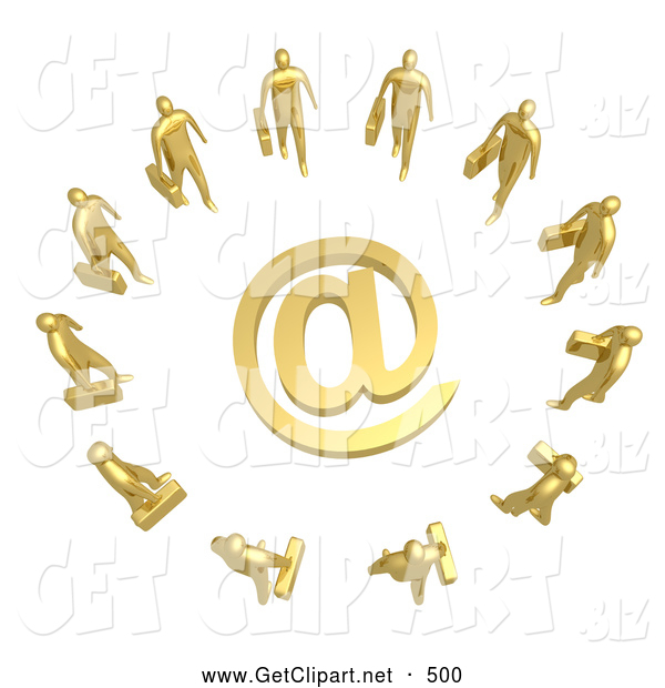 3d Clip Art of a Group of 10 Gold Businesspeople Surrounding a Golden at Symbol