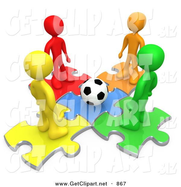 3d Clip Art of a Group of 4 Diverse Diffferent Colored People Standing on Puzzle Pieces and Looking down at a Soccer Ball