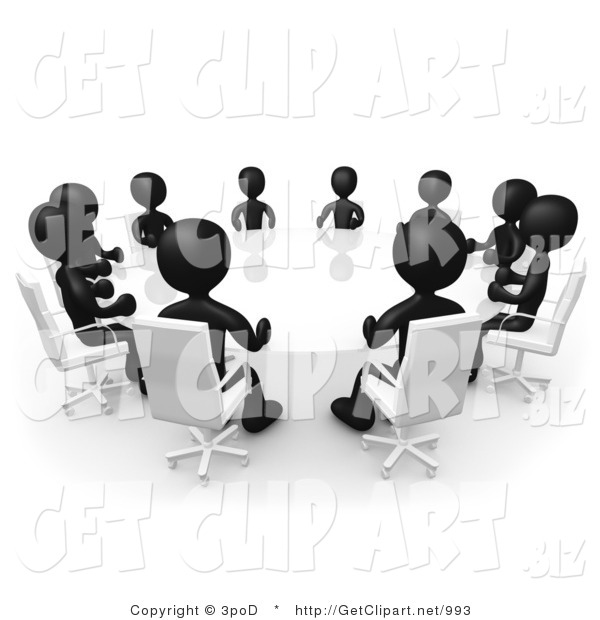 3d Clip Art of a Group of Black Figured People Seated and Holding a Meeting Around a White Reflective Circular Conference Table
