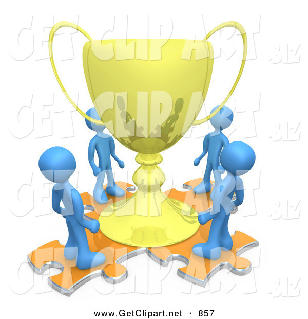 3d Clip Art of a Group of Blue Men Standing on Orange Puzzle Pieces and Looking up at a Giant Golden Tropy Cup After Winning a Championship