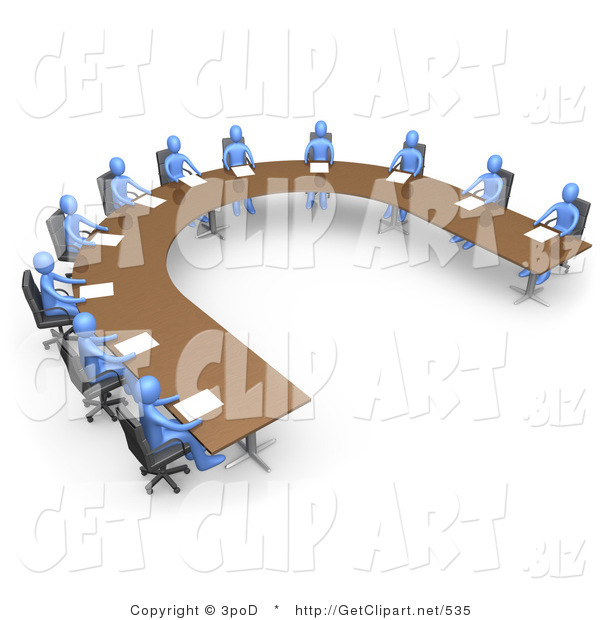 3d Clip Art of a Group of Blue People Seated and Holding a Business Meeting at a Large U Shaped Conference Table