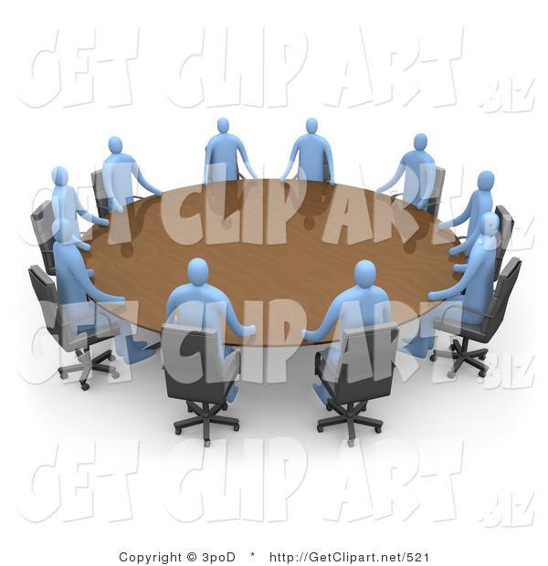 3d Clip Art of a Group of Blue People Seated and Holding a Meeting at a Large Brown Conference Table