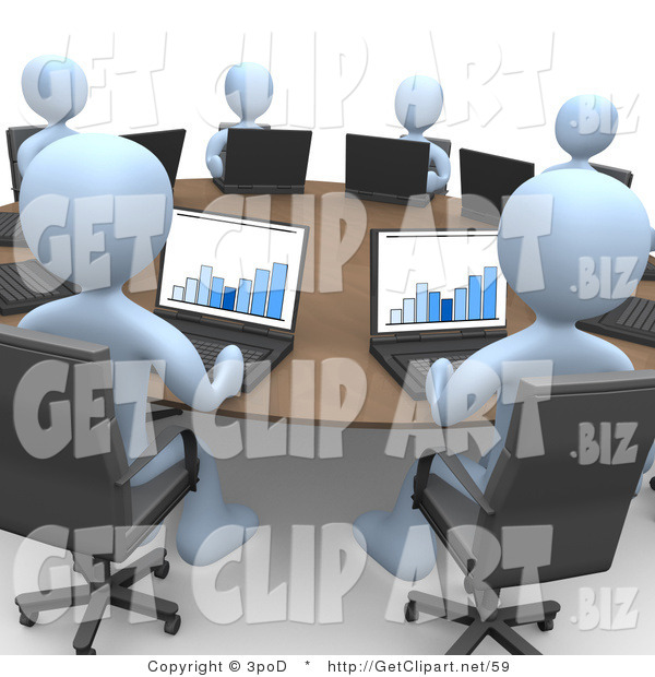 3d Clip Art of a Group of Blue Students or Office Employees in a Training Class, Using Laptop Computers to View Charts and Graphs While Seated Around a Conference Table