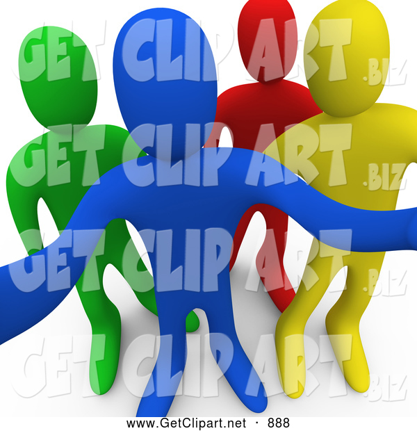 3d Clip Art of a Group of Blue, Yellow, Red and Green People Looking Outwards Curiously