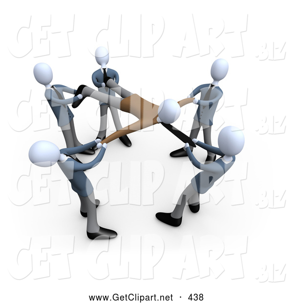 3d Clip Art of a Group of Businessmen Pulling a Client, All Fighting and Competing over Their Customers