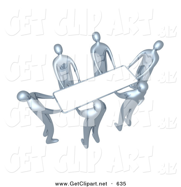 3d Clip Art of a Group of Chrome People Working Together to Lift a Blank White Sign Which Is Ready for an Advertisement