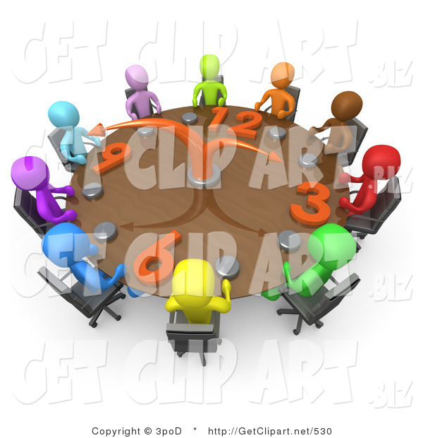 3d Clip Art of a Group of Colorful and Diverse Busy People on a Tight Schedule Holding a Meeting About Labour Hours Around a Giant Circular Clock Conference Table