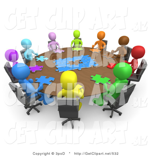 3d Clip Art of a Group of Different Colored and Diverse People Holding a Meeting and Trying to Solve a Jigsaw Around a Large Rectangular Conference Table in an Office