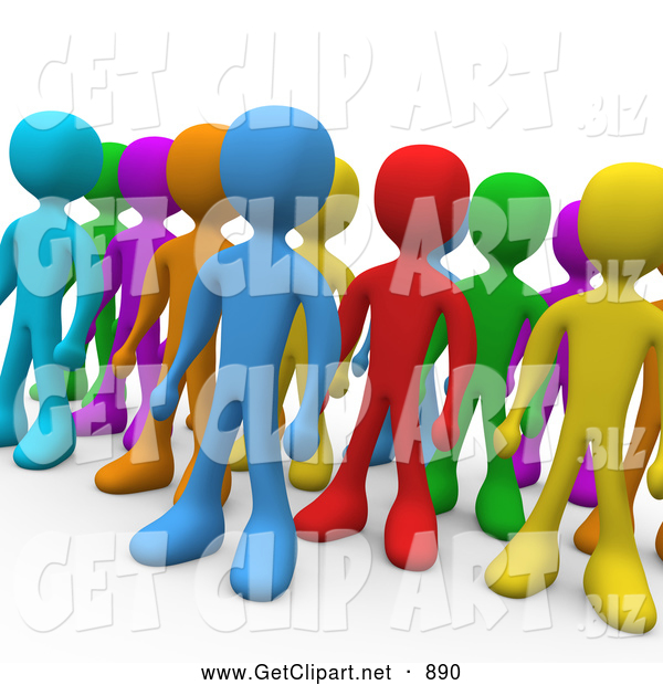 3d Clip Art of a Group of Diverse and Different Colored People Standing in a Group