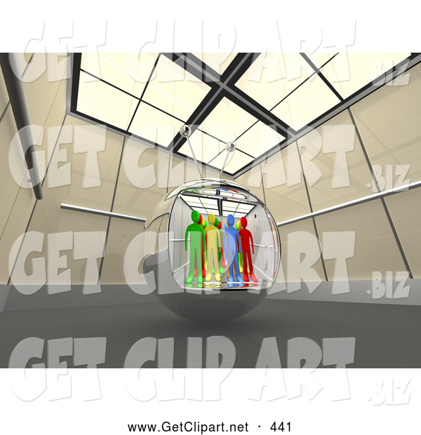 3d Clip Art of a Group of Diverse People in a Television Screen in a Futuristic Room