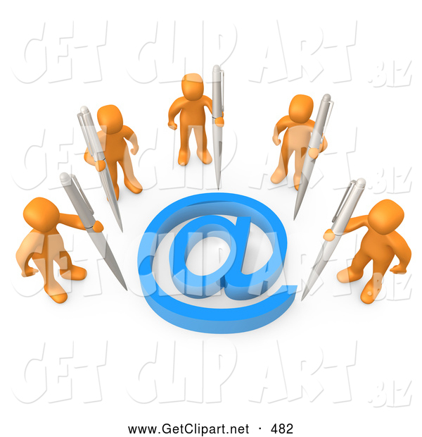 3d Clip Art of a Group of Five Orange People Holding Large Pens, Surrounding a Blue at Symbol