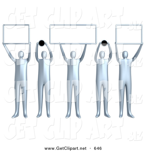 3d Clip Art of a Group of Five Silver People Holding up Blank Boxes and Dots for a Domain Name to Be Entered