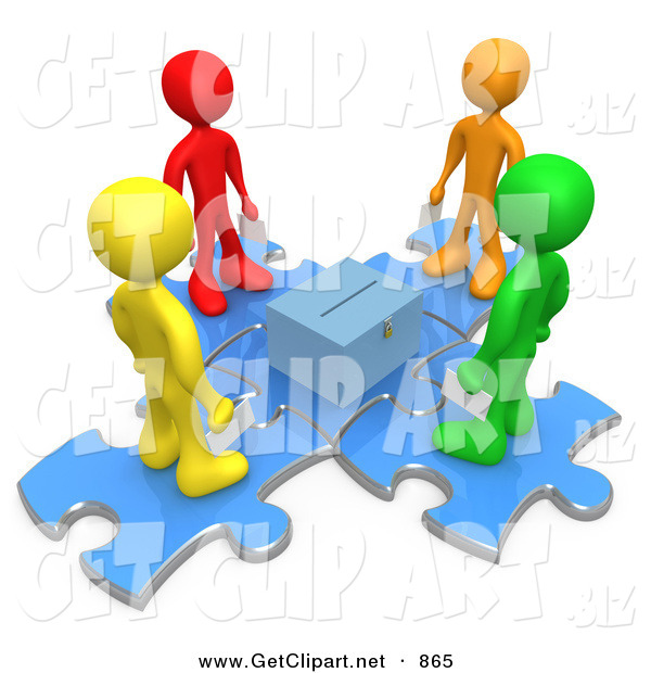 3d Clip Art of a Group of Four Diverse Diffferent Colored People Standing on Blue Puzzle Pieces and Holding Their Voting Ballots in Envelopes While Looking down at a Ballot Box on White