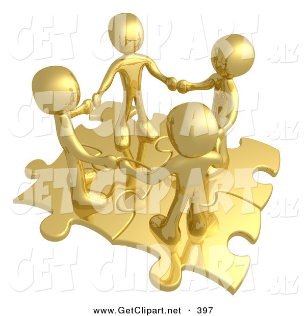 3d Clip Art of a Group of Four Gold People Holding Hands While Standing on Connected Gold Puzzle Pieces, Symbolizing Teamwork, and Interlinking for Seo Website Marketing