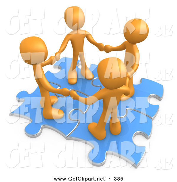 3d Clip Art of a Group of Four Orange People Holding Hands While Standing on Connected Blue Puzzle Pieces on White