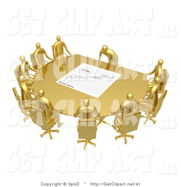 3d Clip Art of a Group of Golden People Seated and Holding a Meeting at a Golden Conference Table While the Boss Reviews a Financial Chart