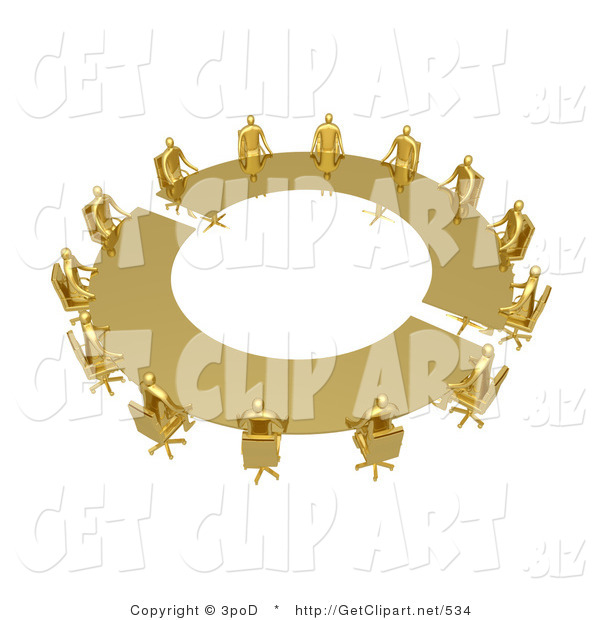 3d Clip Art of a Group of Golden People Seated and Holding a Meeting at a Large Golden Conference Table