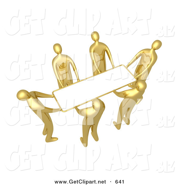 3d Clip Art of a Group of Golden People Working Together to Lift a Blank White Sign Which Is Ready for an Advertisement