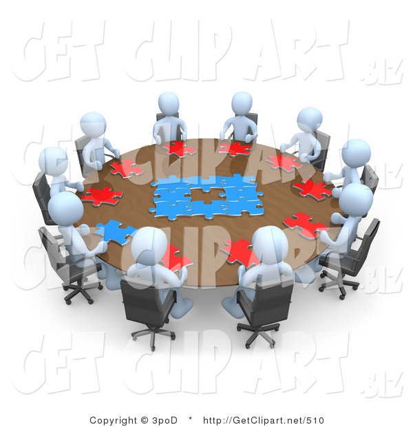3d Clip Art of a Group of Light Blue People Holding a Meeting and Trying to Solve a Jigsaw Around a Large Circular Conference Table in an Office