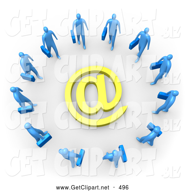 3d Clip Art of a Group of Many Blue Businesspeople Surrounding a Yellow at Symbol