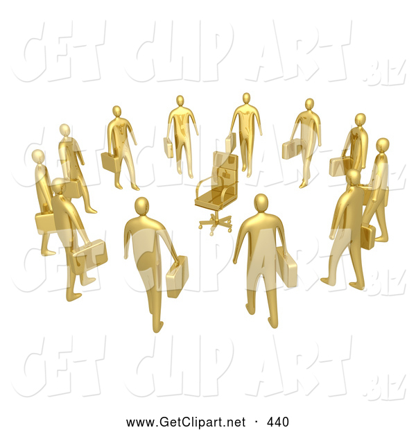 3d Clip Art of a Group of Many Gold Businessmen Standing in a Circle Around a Chair, Symbolizing Job Opportunities and Advancement