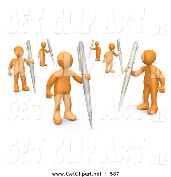 3d Clip Art of a Group of Many Orange People Holding Their Own Pens As a Metaphor for Writing in a Community Forum