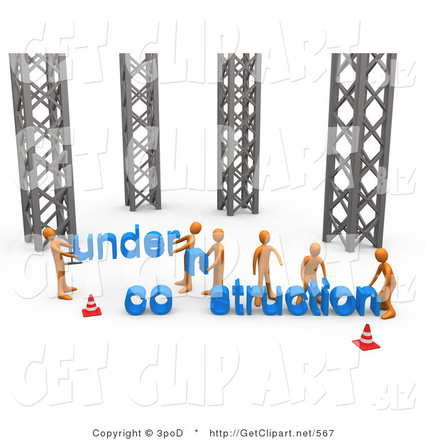 3d Clip Art of a Group of Orange Men Working Together to Build a New Website That Is Under Construction