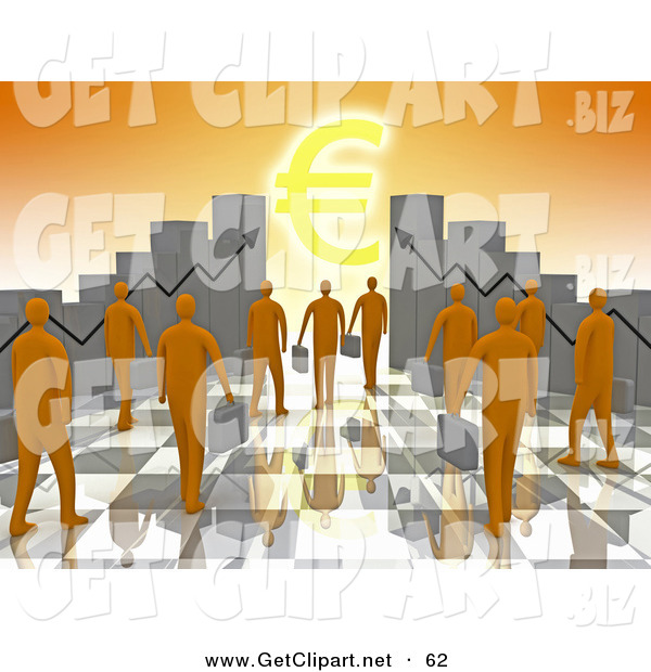 3d Clip Art of a Group of Orange People Carrying Briefcases Towards an Entrance Framed by Ascending Bar Graph Charts with a Euro Symbol Shining like the Sun