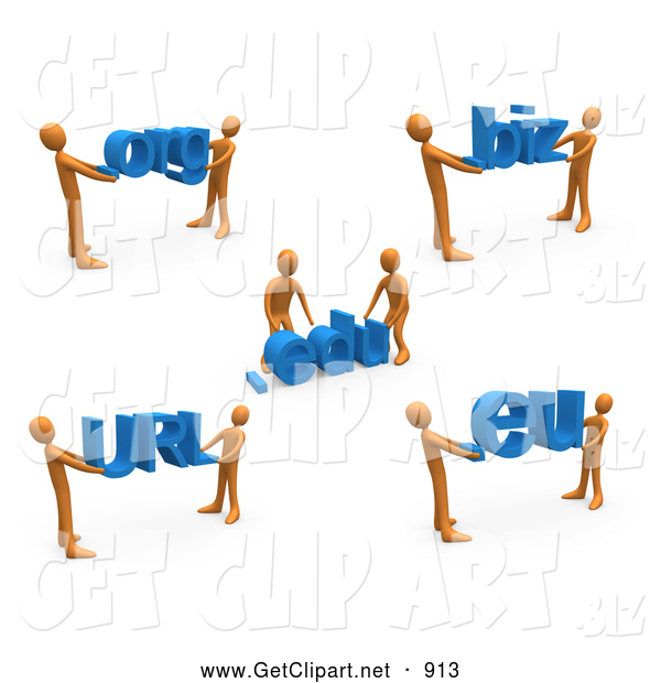 3d Clip Art of a Group of Orange People Carrying Dot Org, Edu, Biz, URL, and Eu
