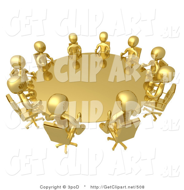 3d Clip Art of a Group of Ten Gold People Seated and Holding a Meeting at a Round Golden Conference Table