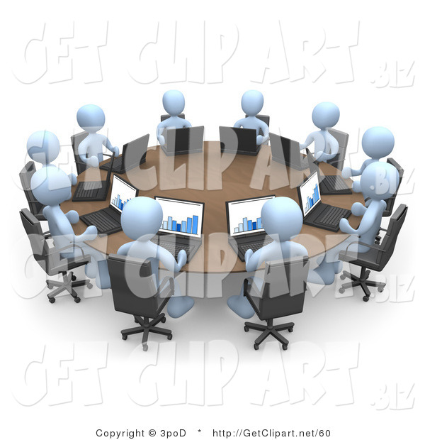 3d Clip Art of a Group of Ten Light Blue People, Students or Employees During a Training Class, Using Laptop Computers to View Charts and Graphs While Seated Around a Conference Table