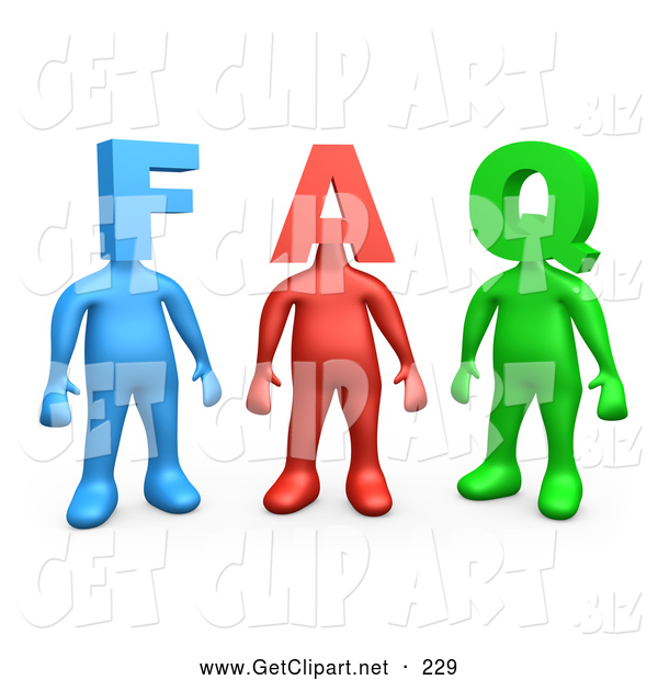 3d Clip Art of a Group of Three Colorful People Figures, One Blue, One Red and One Green, with Heads in the Shape of Letters, Reading FAQ