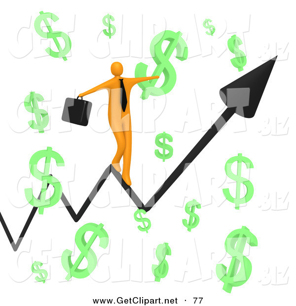 3d Clip Art of a Happy Orange Businessman Carrying a Briefcase and Balancing on an Increasing Black Arrow of a Graph Through Floating Green Dollar Symbols on White