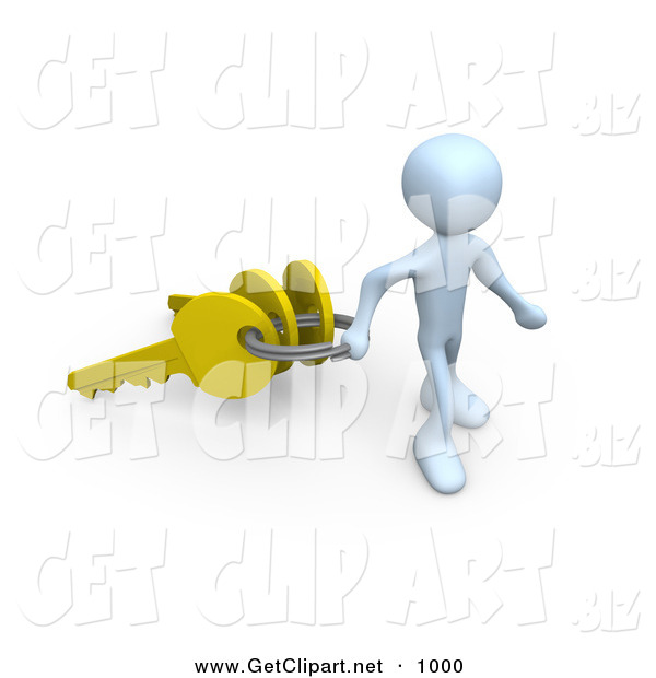 3d Clip Art of a Happy White Figure Pulling a Large Keyring with Three Golden Keys on It, Symbolizing a New Homeowner or Security